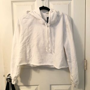 brandy white cropped hoodie